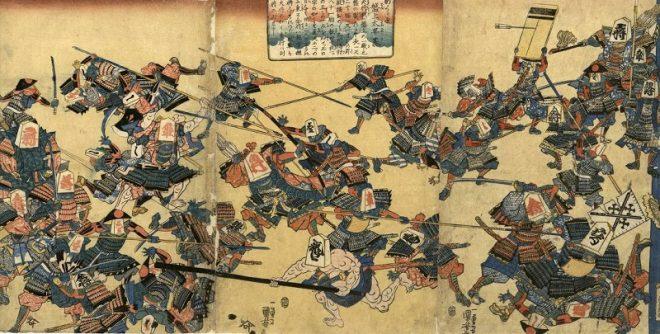 Утагава Куниёси (Итиюсай). 1797-1861 Сцена из спектакля театра Кабуки Сёгун разыгрывает партию в шахматы 1843