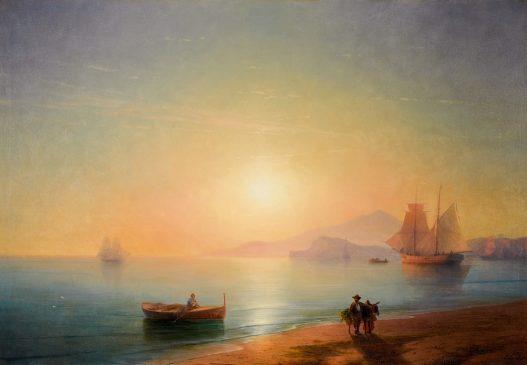 """Картина Ивана Айвазовского (1817-1900) """"Неаполитанский залив"""" 1878 года"""